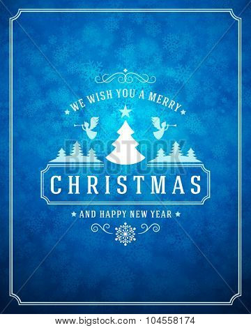 Christmas light with snowflakes and typography label design vector background. Greeting card or invitation and holidays wishes.
