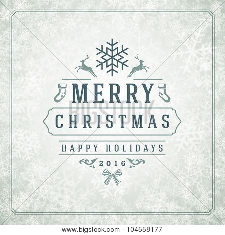 Christmas lights with snowflakes and typography label design vector background. Greeting card or invitation and holidays wishes.