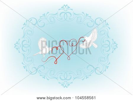 Two birds fly and carry in its beak decorative hearts