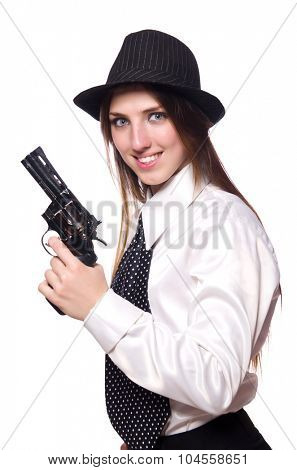 Young woman holding handgun isolated on white