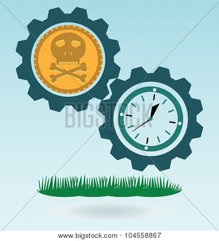 Gold Coin With A Skull And Crossbones, Clock. Symbol Of Pirates, Danger, Death, Halloween.