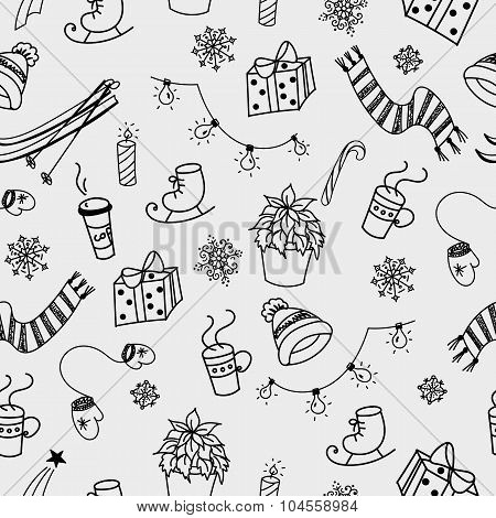 Winter Doodles Seamless Pattern