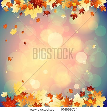 September background with falling autumn leaves. Place for text