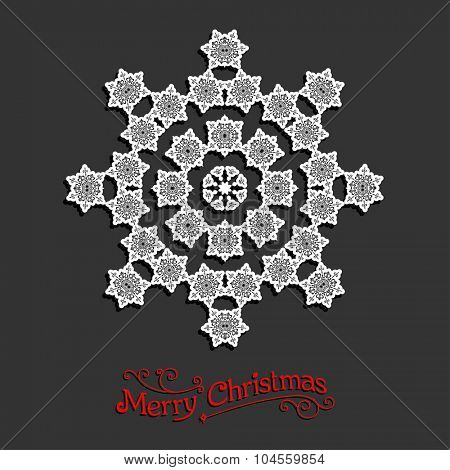 Festive snowflake. Christmas design for card, banner, invitation, leaflet and so on.