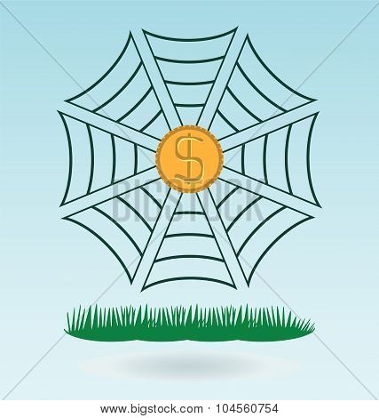 Spiderweb With Dollar Coin Trapped By The Threads