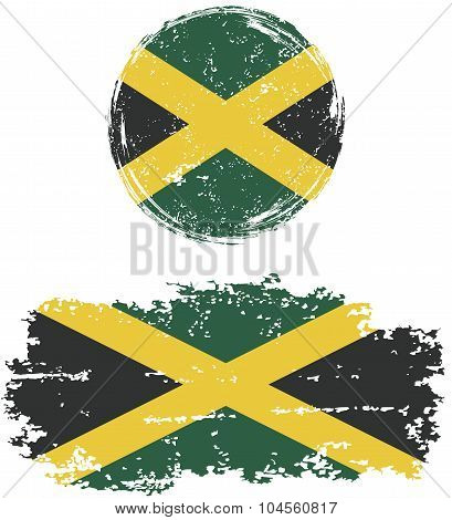 Jamaican round and square grunge flags. Vector illustration.