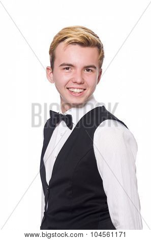 Young man in black classic vest isolated on white