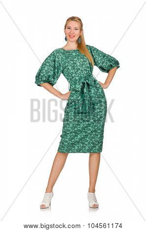 Young woman in green dress isolated on white