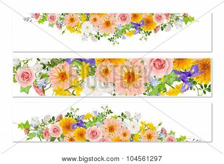 Three Flower Banners With Drop Shadows