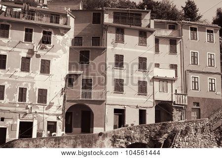Italy. Cinque Terre Region. Riomaggiore Village. In Sepia Toned. Retro Style