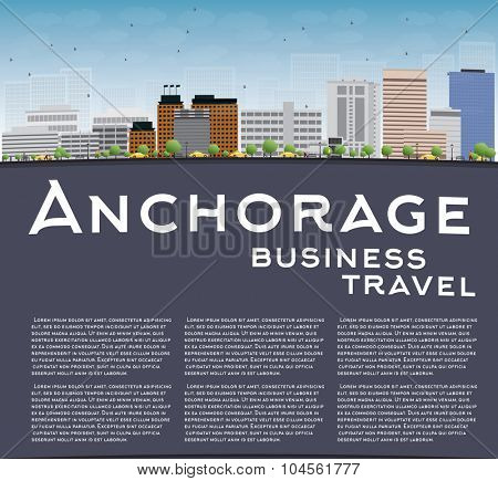 Anchorage (Alaska) Skyline with Grey Buildings, Blue Sky and copy space. Business travel and tourism concept with place for text. Image for presentation, banner, placard and web site.