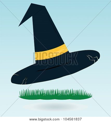 Witch Hat For Halloween, Grass Concept