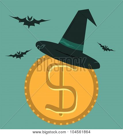 Witch Hat For Halloween On Dollar Coin