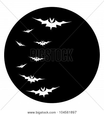 Bats Against A Disk Of The Moon