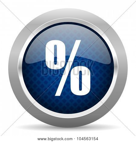 percent blue circle glossy web icon on white background, round button for internet and mobile app