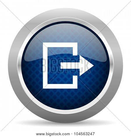 exit blue circle glossy web icon on white background, round button for internet and mobile app