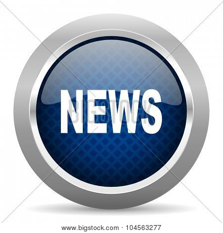 news blue circle glossy web icon on white background, round button for internet and mobile app