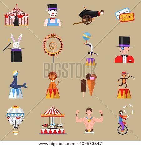 Circus retro flat icons set print