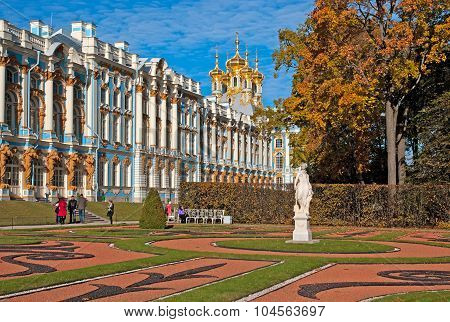 Tsarskoye Selo (Pushkin). Saint-Petersburg. Russia. The Catherine Palace and Park
