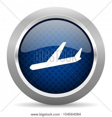 arrivals blue circle glossy web icon on white background, round button for internet and mobile app