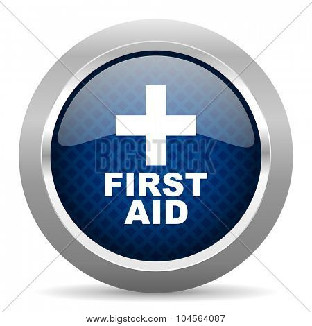 first aid blue circle glossy web icon on white background, round button for internet and mobile app