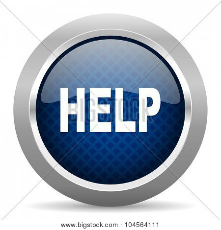 help blue circle glossy web icon on white background, round button for internet and mobile app