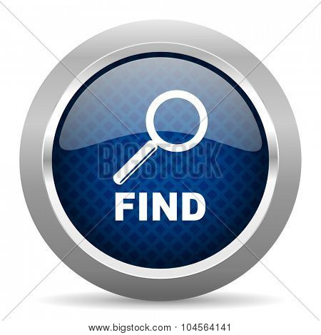 find blue circle glossy web icon on white background, round button for internet and mobile app