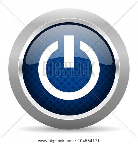 power blue circle glossy web icon on white background, round button for internet and mobile app