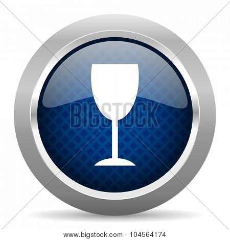 alcohol  blue circle glossy web icon on white background, round button for internet and mobile app