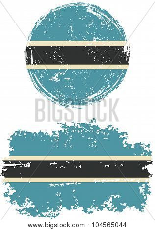 Botswana round and square grunge flags. Vector illustration.