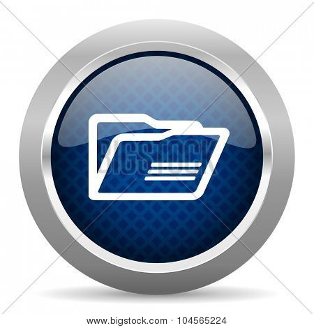 folder blue circle glossy web icon on white background, round button for internet and mobile app