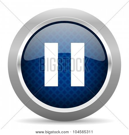 pause blue circle glossy web icon on white background, round button for internet and mobile app