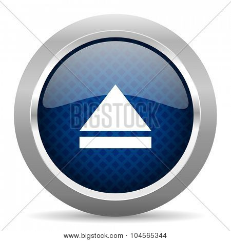eject blue circle glossy web icon on white background, round button for internet and mobile app
