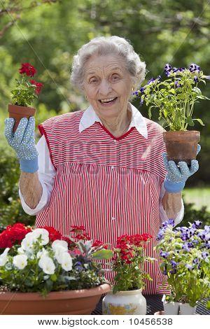 Smiling Senior Woman Holding Flowers