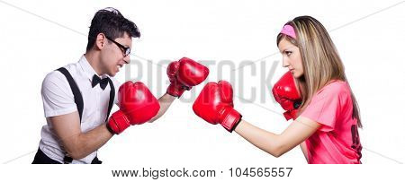 Sportsman and employee kickboxing isolated on white