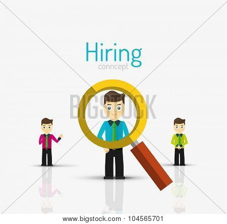 Hiring flat design concept. Man standing on glossy surface and magnifying glass