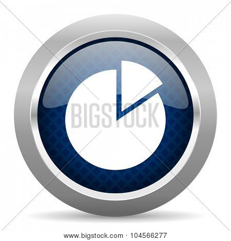chart blue circle glossy web icon on white background, round button for internet and mobile app