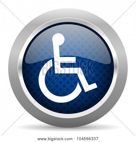 wheelchair blue circle glossy web icon on white background, round button for internet and mobile app