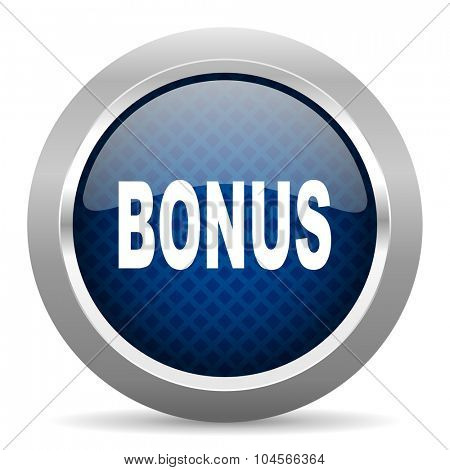 bonus blue circle glossy web icon on white background, round button for internet and mobile app