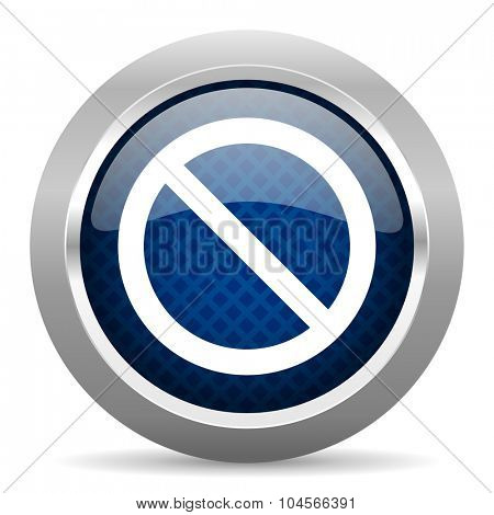access denied blue circle glossy web icon on white background, round button for internet and mobile app