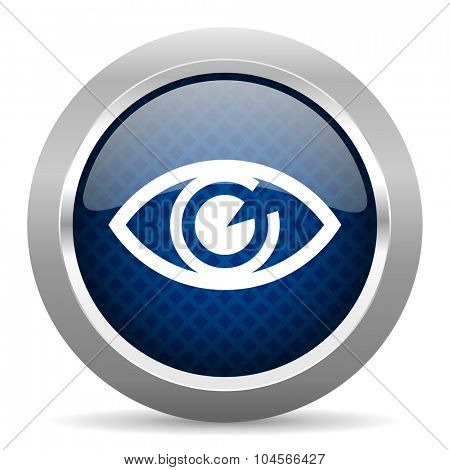 eye blue circle glossy web icon on white background, round button for internet and mobile app
