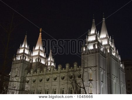 Salt Lake Temple From Northwest At Night