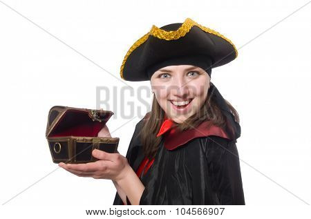 Female pirate in black coat holding treasure isolated on white