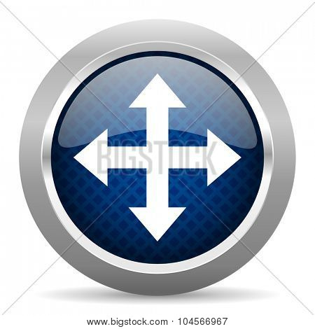 arrow blue circle glossy web icon on white background, round button for internet and mobile app