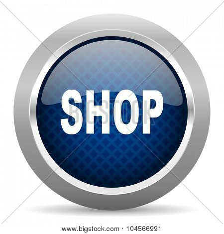 shop blue circle glossy web icon on white background, round button for internet and mobile app