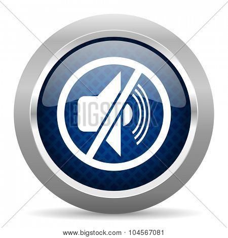 mute blue circle glossy web icon on white background, round button for internet and mobile app