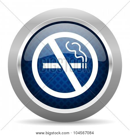 no smoking blue circle glossy web icon on white background, round button for internet and mobile app