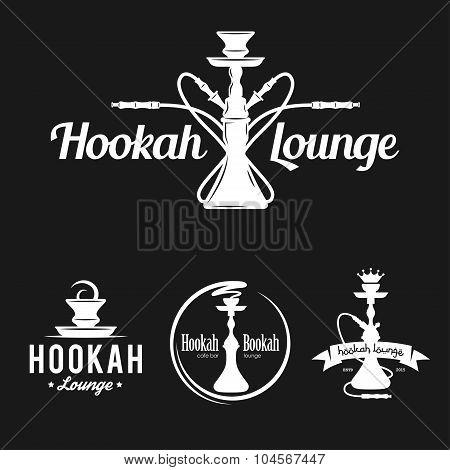 Set of hookah labels, badges and design elements.