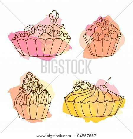 Tarts Vector Illustration. Doodle Cakes With Splash Background. Outline Desserts Set.