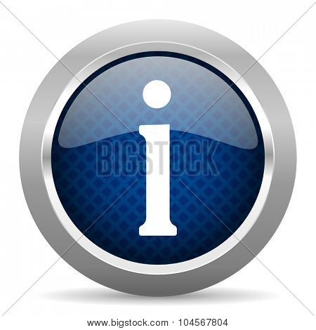 information blue circle glossy web icon on white background, round button for internet and mobile app